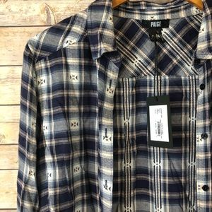 NWT PAIGE Plaid Button Up Cosette
